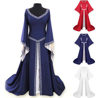 Women Medieval Renaissance Maxi Dress Floor Length Gown Halloween Party Costume