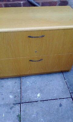 . Beech 2-Drawer Wooden Side-Filing Cabinet, Lateral Filing Cabinet