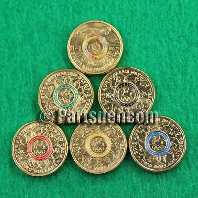 2016 Olympic $2 Two Dollar Coin Set Black Blue Red Yellow Green Paralympic coins