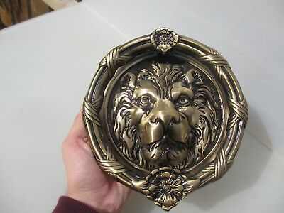 Large Cast Brass Lion Head Door Knocker Wreath Lions Antique Georgian STYLE 8""