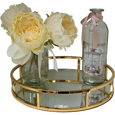 Gold Metal Round Shape Serving/Dressing Table Tray With Mirror Glass
