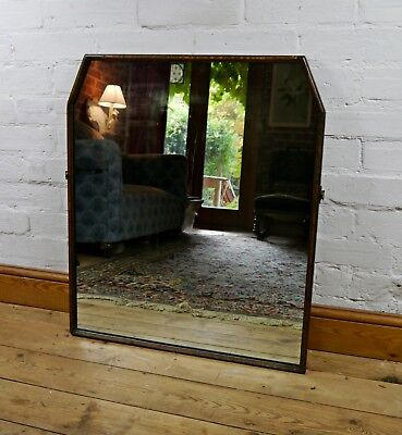 Large Antique Oak Wood Over-Mantle Wall Mirror Retro Country House