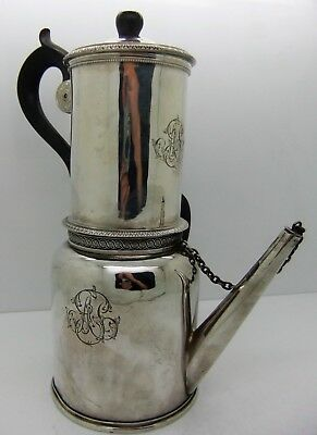 Rare FRENCH EMPIRE solid silver stacking CAFETIERE/COFFEE POT c.1820 - 528 GRAMS