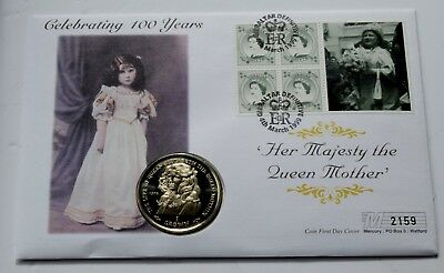 1999 Gibraltar Queen Mother 100 birthday  Proof One Crown Coin cover