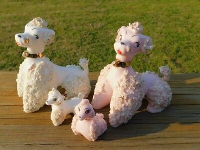 Vintage Mid-Century Spaghetti Pink and White Poodle With Pups