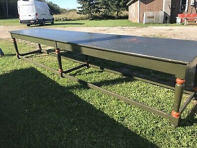 Great 16 Foot Country Store Counter Farm Table Old Green Paint Original As Found