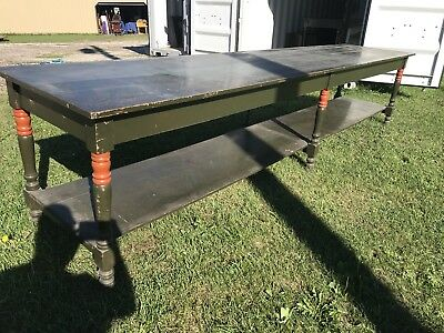 Wonderful Large 12 Foot 11 Inch Farm Country Store Counter Table Old Paint
