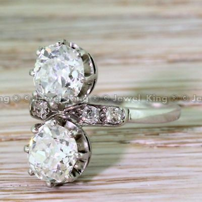 Two Stone 2.24 Ct Old Cut Art Deco Diamond Vintage Engagement Ring Rare 1930's