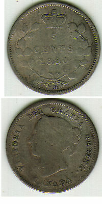 1880 H 5 Cent Silver