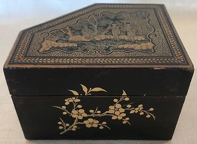 Chinoiserie Decorated Lacquer Game Box Chinese Export 19th Century