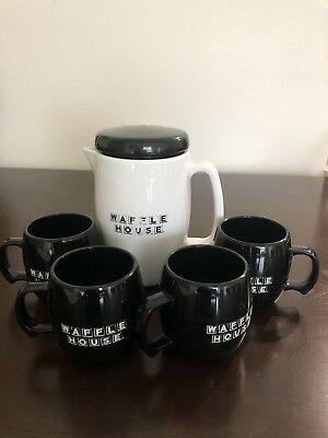 Old Promotional Waffle House Carafe and 4 Cups
