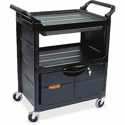 "Rubbermaid Utility Cart w/Lockable Doors 37.6""x18.6""x33.6"" Black FG345700BLA"