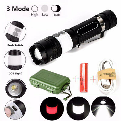 NEW 12000LM XML T6 COB LED ZOOM Flashlight 18650 USB Rechargeable Torch Set Lamp