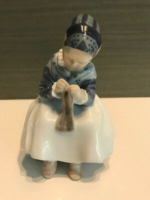 "Royal Copenhagen Figurine  #097  ""amager Girl Knitting"""