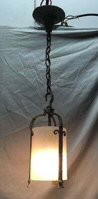 Vtg Cast Wrought Iron Ceiling Pendant Light Fixture Cylinder Glass Shade 485-18E