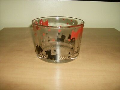 Vintage Federal Glass Ice Bucket With Scottie Dogs, Scottish Terrier Black & Red