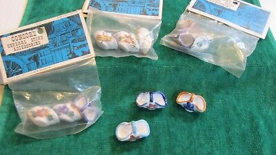 "Dollhouse Miniature 1"" Scale Vintage Lot of 4 pkgs. ceramic baskets 3 per bag"