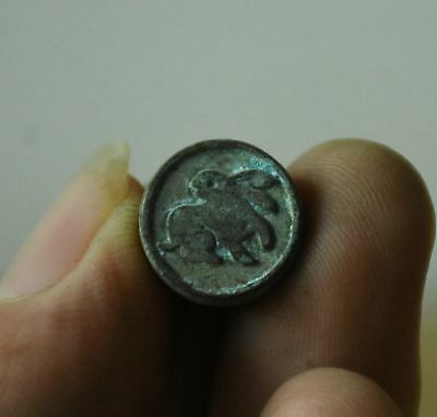 """Old Chinese Bronze Dynasty Zodiac Rabbit  Seal Stamp 15mm 0.591"""" Small"""