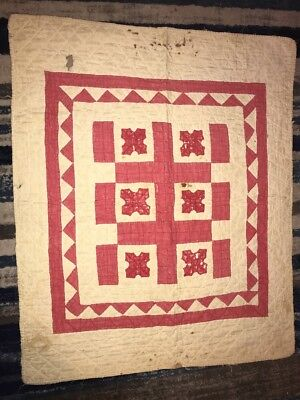 Antique Vintage baby quilt with hand stitching Late 1800/ Early 1900