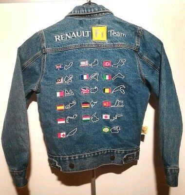 RENAULT F1 Team Jeans Jacke POWER SPEED PASSION Kinder 8 Jahre Formel 1 Strecken