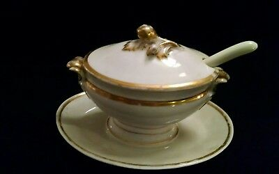 Old Paris White Porcelain and Gold Trim Covered Serving/Soup Tureen with Spoon