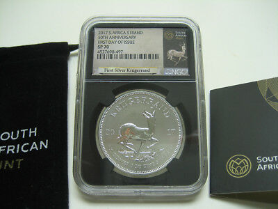 """2017 S Africa 50th Anniversary """"First Day of Issue"""" Silver Krugerrand NGC SP70"""