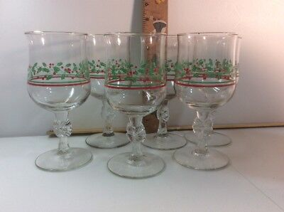 ARBY'S HOLLY AND BERRY - set of 6  CHRISTMAS WINE GLASSES GOBLETS -  bow stem