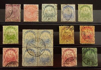 BERMUDA British Colonies Old Stamps - Used / Mint NG with Block Of 4-VF-r35e7195