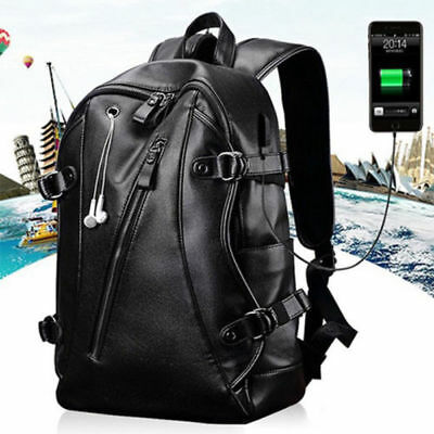 Men Waterproof Laptop Notebook Backpack With USB Charging Port Fashion D