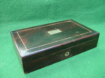 SMALL INLAID ANTIQUE ROSEWOOD BOX for SCIENTIFIC, MATHS INSTRUMENTS or JEWELLERY