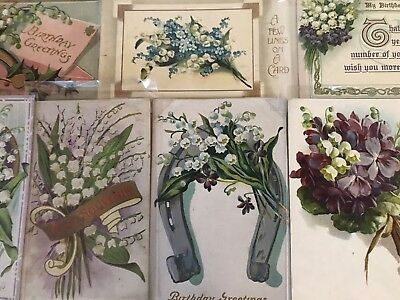 Nice Lot of 8 Vintage Greetings Postcards with Lily of the Valley Flowers-h285