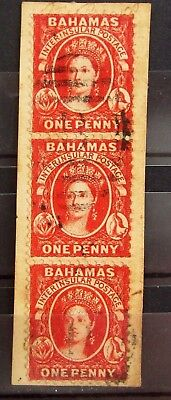 BAHAMAS British Colonies Old Stamps - Used on Piece - STRIP Of 3 - VF - r35e7200