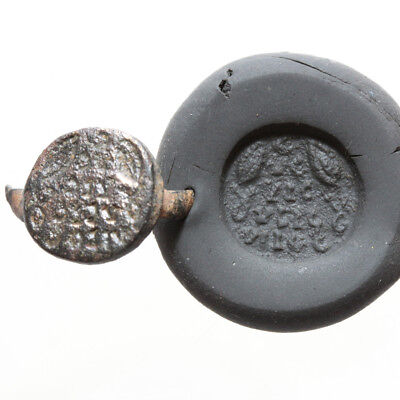 Very Interest Byzantine Bronze Seal Head Of Ring With Inscriptions