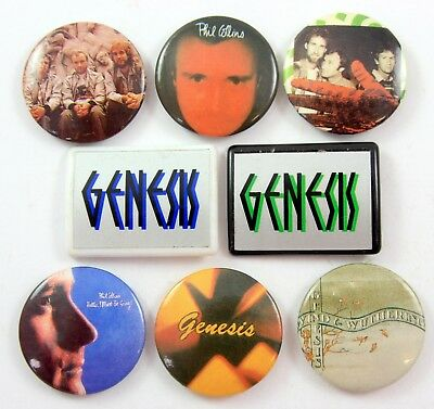 GENESIS AND PHIL COLLINS BADGES 8 x Vintage Genesis Pin Badges * Rock *