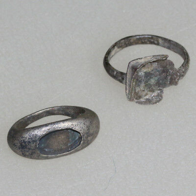 Lot Of 2 Silver Rings 1 Roman And 1 Medieval Crusaders