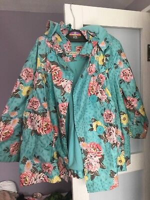 John Lewis Raincoat Waterproof Floral Vintage Girls 3 Years