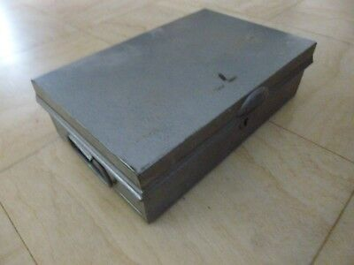 Vintage  Metal  Deeds Box Storage Box  Cash Box Folding Carry Handles Pilot Make