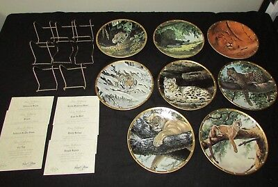 Complete Set of 8 ROYAL CATS PLATE COLLECTION 1994 BY Guy Coheleach w/COA's