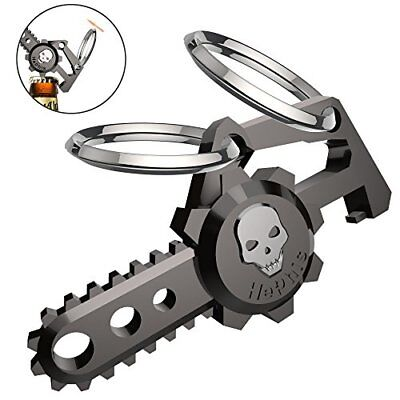Hephis Chainsaw Skull Car Keychain with Dual Rings for Men,Women,Bottle Black
