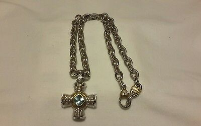 Judith Ripka Sterling Silver 18K Gold Diamond Cross Pendant And Chain