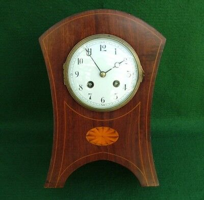 ANTIQUE EDWARDIAN INLAID MAHOGANY VINCENTI Mov FRENCH CONVEX DIAL STRIKING CLOCK
