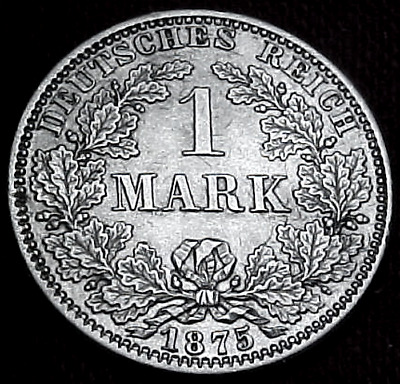 1875-A Germany Silver 1 Mark Coin..........min. Bid .01 & No Reserve!