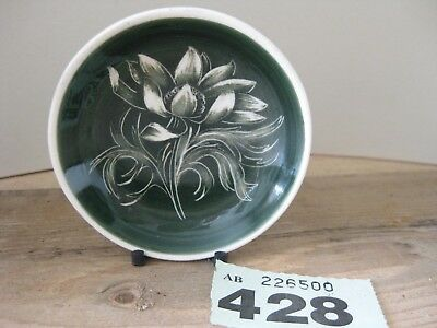 Made in Wales Welsh Pottery Pin Dish Small Green White Floral Unknown Tree Mark