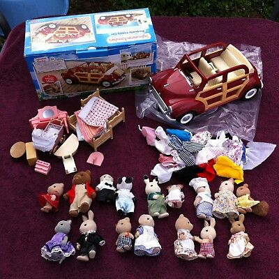 Amazing Lot Sylvanian Families Figures With Car & Spares Must See No Reserve