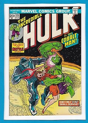 "INCREDIBLE HULK #174_APRIL 1974_VF_""HULK Vs THE COBALT MAN""_BRONZE AGE MARVEL!"