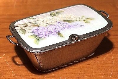Fine Sterling Silver Basket Trinket Box Lilac Flower Enamel Guilloche Top German