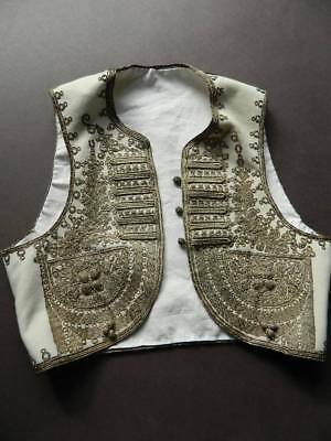 Antique wool Turkish Ottoman waistcoat yelek couched silver metallic embroidery
