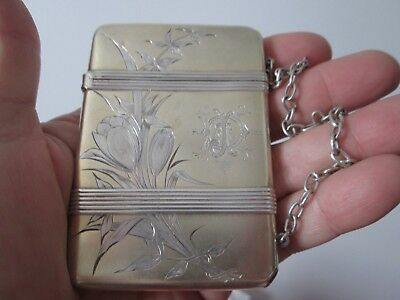 Antique  AESTHETIC Period - WHITING - STERLING CARD CASE - 1870 - 1890