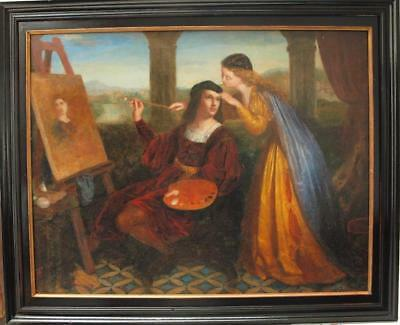 "LARGE MID 19th Century PRE RAPHAELITE ""THE ARTISTS MUSE"" Antique Oil Painting"