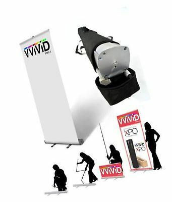 "VViViD Retractable Roll Up Banner Stand 32"" x 79"" Trade Show Graphic Display"